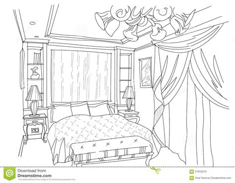 how to draw your bedroom contemporary interior doodles bedroom stock vector