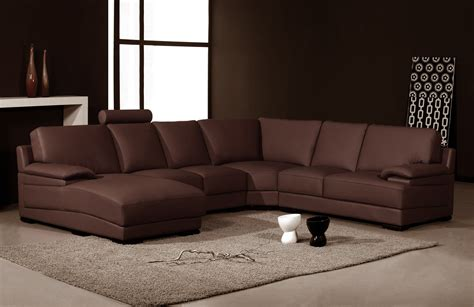 Sectional Sofas Brown 2227 Modern Brown Leather Sectional Sofa
