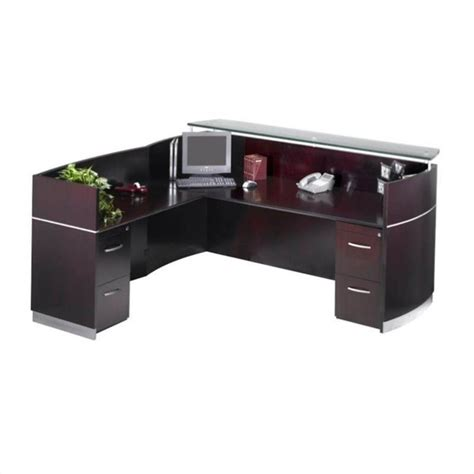 mayline reception desk mayline napoli l shaped 4 drawer reception desk in mahogany nrslffmah