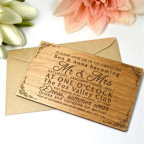 engraved wedding invitation engraved wooden landscape invitations personalized favors