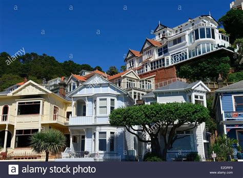we buy houses nz new zealand north island wellington the victorian style timber houses stock photo