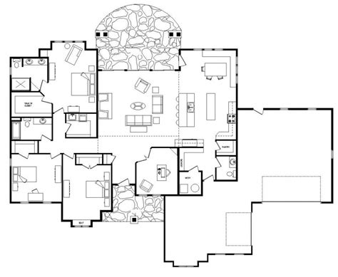 single level house plans with open floor plan custom log