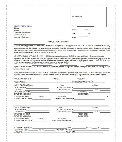 42 Rental Application Forms Lease Agreement Templates Rental Policy Template