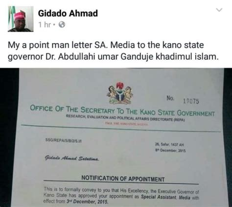 appointment letter nigeria see what sa media to kano state gov posted on fb