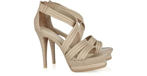 Textured Brown Wedges lyst herv 233 l 233 ger croc embossed and textured leather sandals in brown