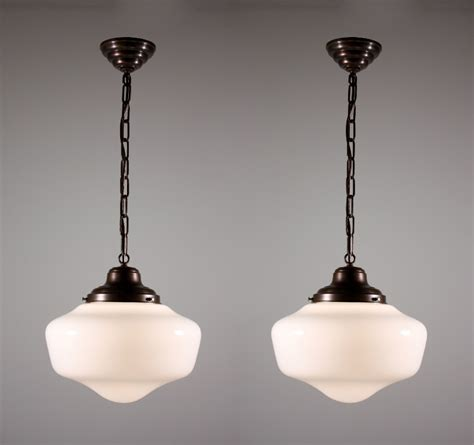 Vintage Schoolhouse Light Fixtures Two Matching Antique Schoolhouse Lights With Glass Globes Nc920 One Available For Sale