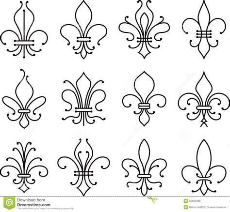 fleur de lys scroll elements symbol stock vector image