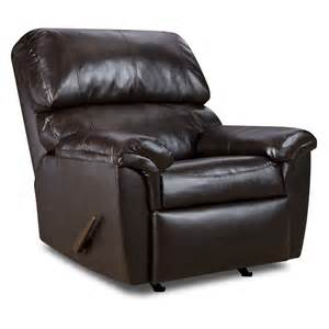 simmons walnut bonded leather oversized recliner at