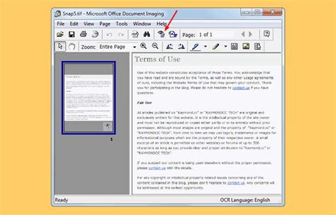 Microsoft Office Document Imaging 10 free document scanning software to scan receipt