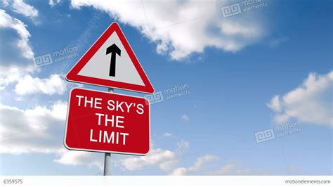 Sky Is The Limit by The Skys The Limit Sign Against Blue Sky Stock Animation