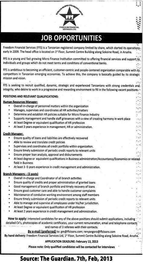 Assistant Credit Manager Description by Human Resources Manager Credit Manager Branch Managers Tayoa Employment Portal
