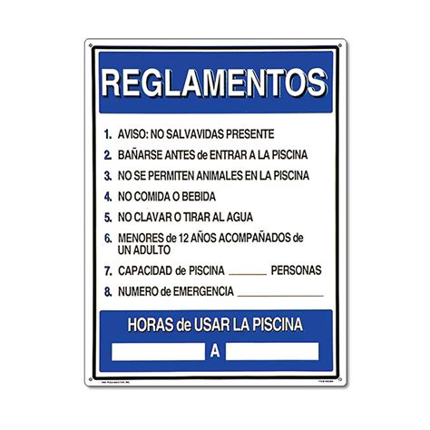 Reglamentos Pool Rules Spanish Pool Sign