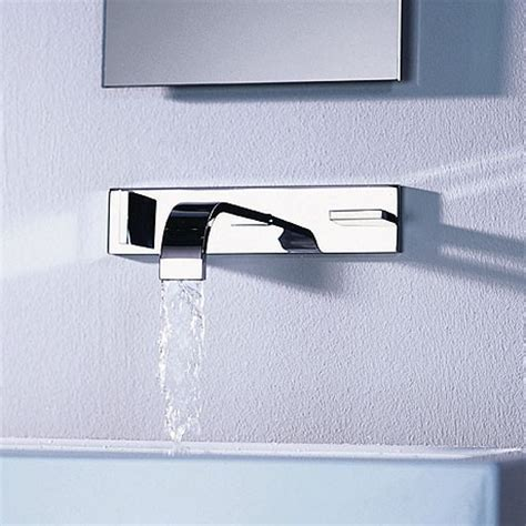 wall mounted bathtub filler dornbracht s sleek mem faucet a flat spout fancy