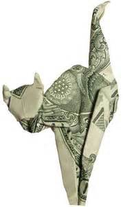 Dollar Origami Cat - dollar artist sculptures