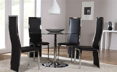 black glass dining room sets orbit round glass chrome dining room table and 4 chairs