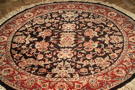 5 round persian kashan hand knotted wool area rug nejad