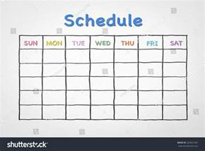 Schedule Grid Template by Freehand Pen Doodle Sketch Drawing Of Blank Monthly Grid