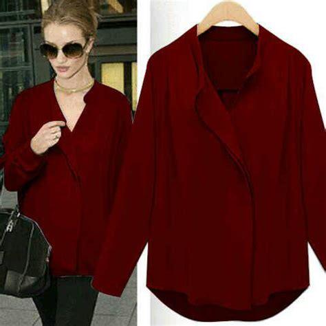 Baju Warna Merah Maroon baju kemeja wanita cantik model terbaru murah