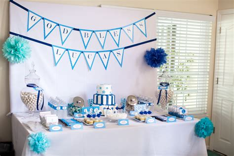 christening party decorations   baby boy party