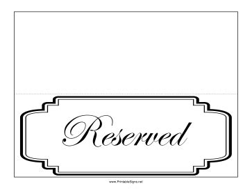 Printable Reserved Table Sign Sign Reserved Table Sign Template