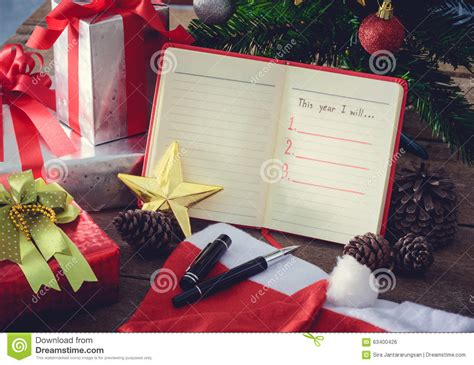 new year decoration list new year resolution empty list stock photo image 63400426