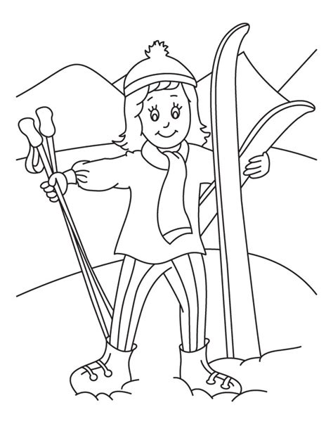 skiing holiday coloring page download free skiing