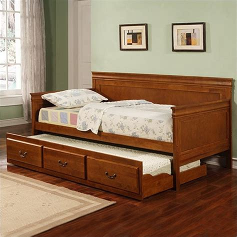 Daybed With Trundle And Mattress Coaster Daybed With Trundle In Oak Finish 300036oak