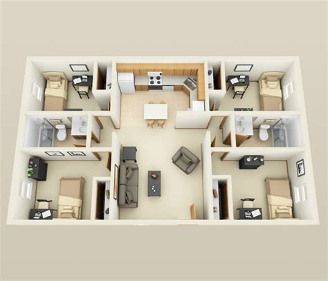 home design for 4 room planos para apartamentos con 4 habitaciones