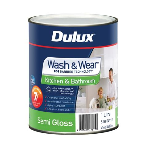 semi gloss in bathroom dulux wash wear kitchen bathroom 1l semi gloss white