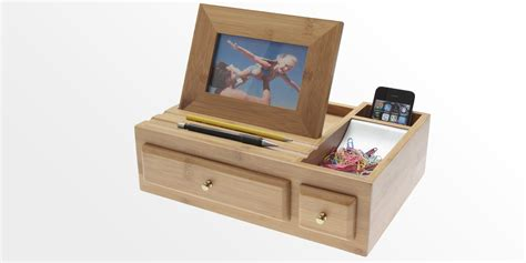 Office Desk Tidy Desk Organiser With Photo Frame Bamboo Stationary Box Bamboo Desk Tidy Office Supplies
