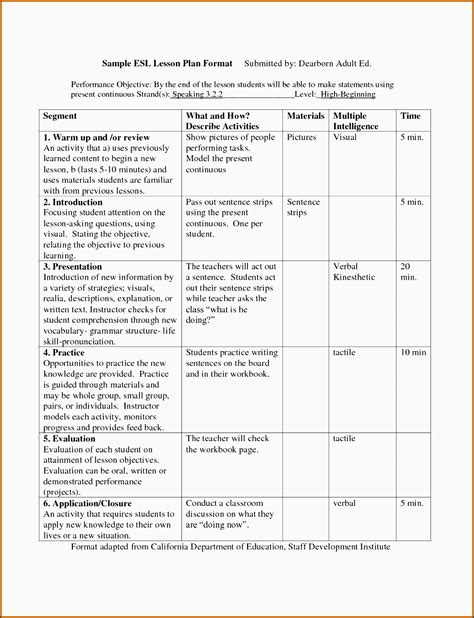 otes lesson plan template otes lesson plan template gallery exle resume