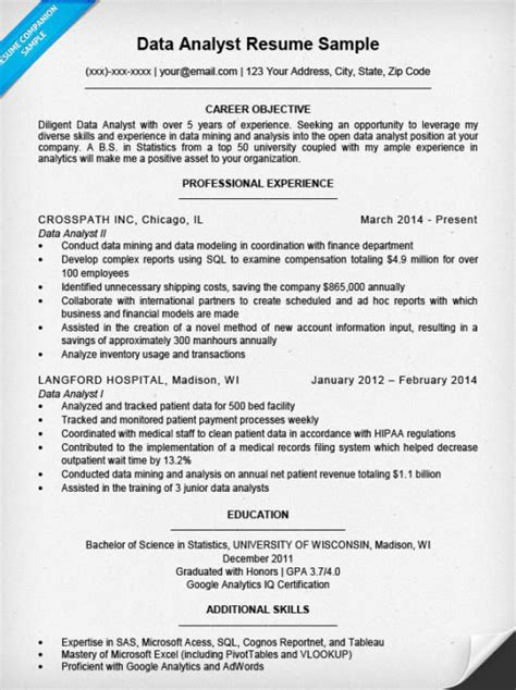 Resume Sles Data Analyst Data Analyst Resume Sle Writing Tips Resume Companion