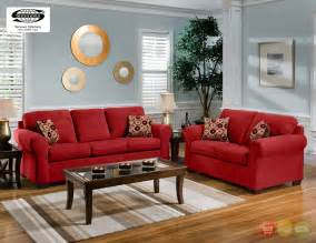 Livingroom Furniture Set Cabot Red Microfiber Sofa Amp Love Seat Casual Living Room