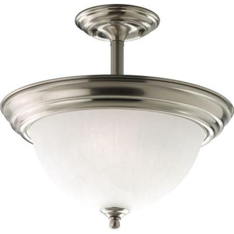 progress lighting 2 light brushed nickel semi flush mount
