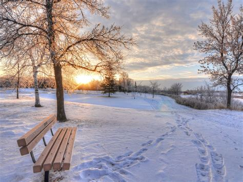 bench winter winter snow dawn footprints bench hd wallpaper 9798