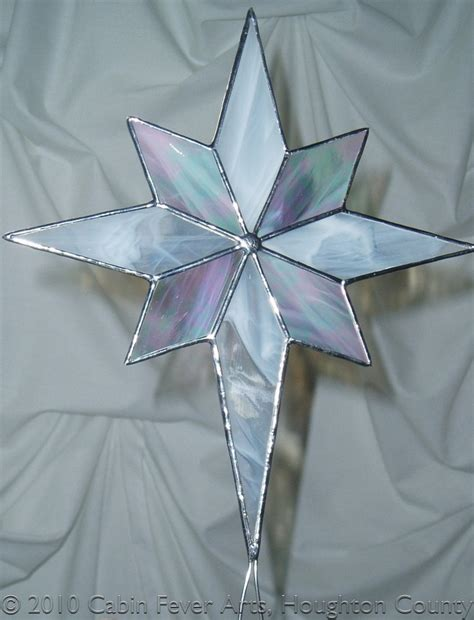 white christmas star in stained glass tree topper 11 5 x 9