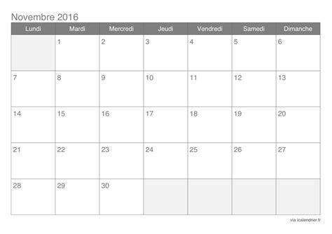 Calendrier Novembre 2016 Calendrier Novembre 2016 224 Imprimer Icalendrier