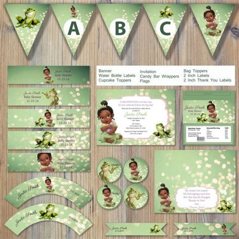 princess and the frog invitations printable instant princess and the frog green bokeh baby prince naveen editable