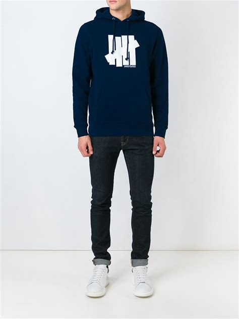 Jaket Zipper Hoodie Sweater Undefeated Logo undefeated logo print hoodie in blue for lyst