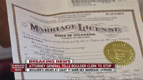Colorado Marriage License Records Boulder County Clerk Asks For More Time After Ag Says No More Same Marriage