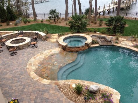 pools with spas custom swimming pool and spa photos charlotte waxhaw