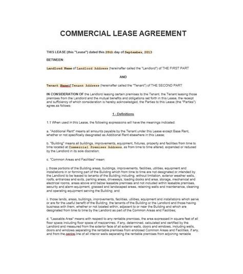 commercial lease sle