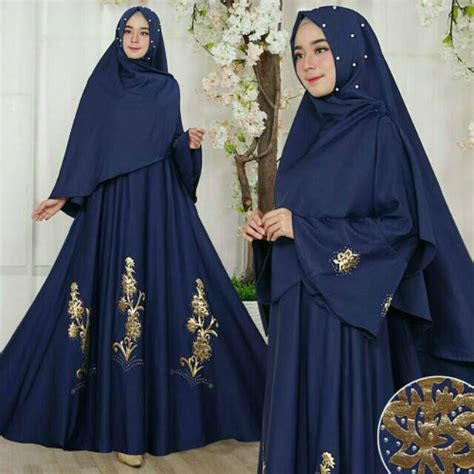 Baju Muslim Biru Bunga2 baju muslim gamis modern pesta aplikasi mutiara syari