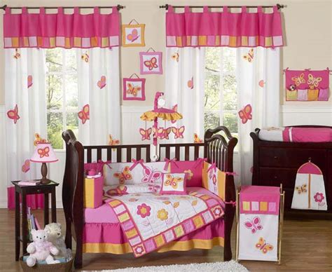 cheap discount pink butterfly flower 9pc baby crib