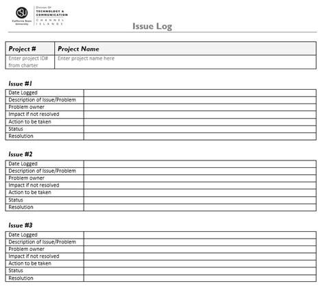 project management issues log template 13 free sle issue log templates printable sles
