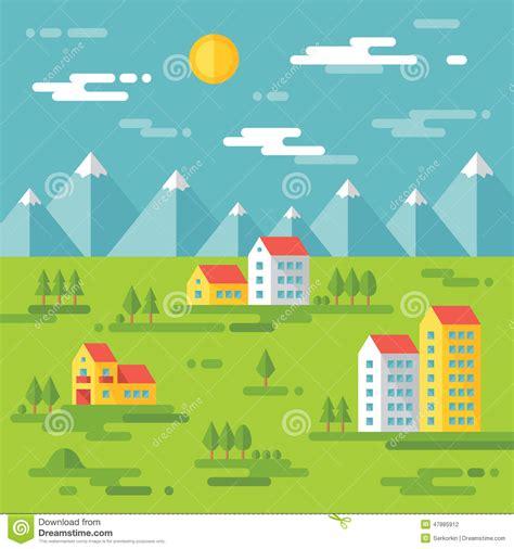 landscape design elements vector illustration landscape with buildings vector background illustration