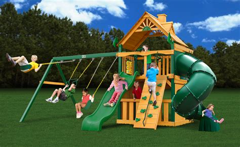 gorilla wooden swing sets gorilla playset mountaineer clubhouse cedar swing set free