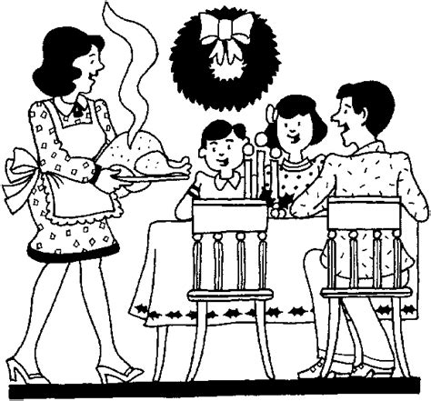 coloring page of family eating dinner اداب الطعام التغذية السليمة