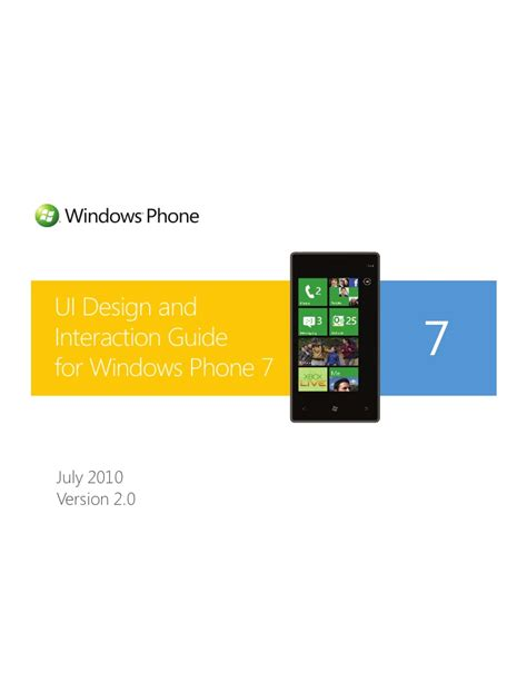 design guidelines windows 7 ui design and interaction guide for windows phone 7 v2 0