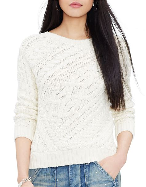 knit cotton sweater polo ralph cable knit cotton sweater in white lyst